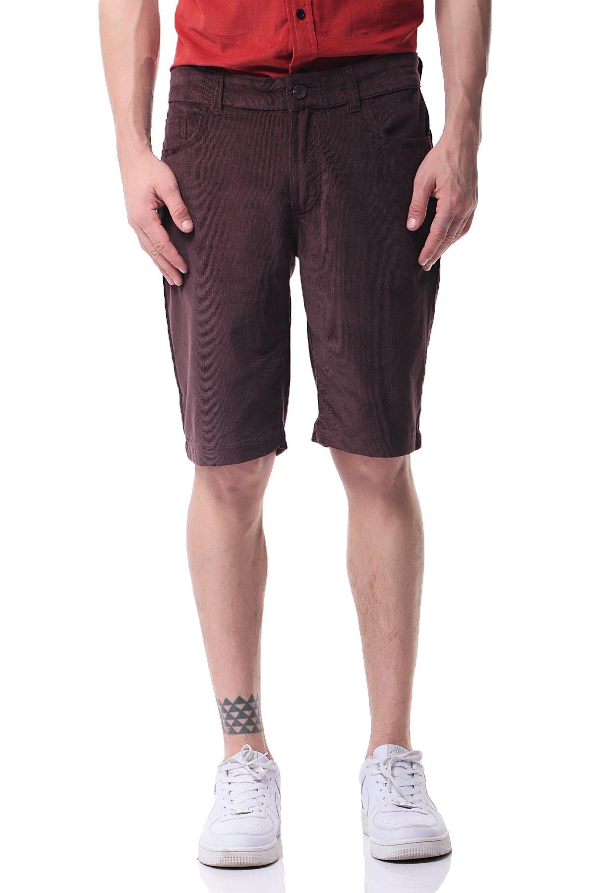 Pau1Hami1ton PH-19 Mens Corduroy Shorts Casual Slim Fit Flat Front(34, Brown)