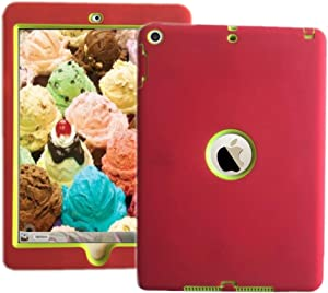 """ipad 6th/5th Generation Shockproof case for iPad 9.7"""" 2018/2017 Release Also Fit for iPad Air 1st 2013 Release Models A1893 A1954 A1822 A1823 A1747 A1475 Black/Pink (Red Green)"""