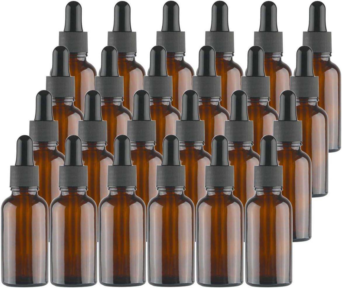 Lawei - Botellas de vidrio ámbar con pipetas cuentagotas para aceites esenciales, perfumes, aromaterapia, química de laboratorio, productos químicos, 30 ml, 24 unidades