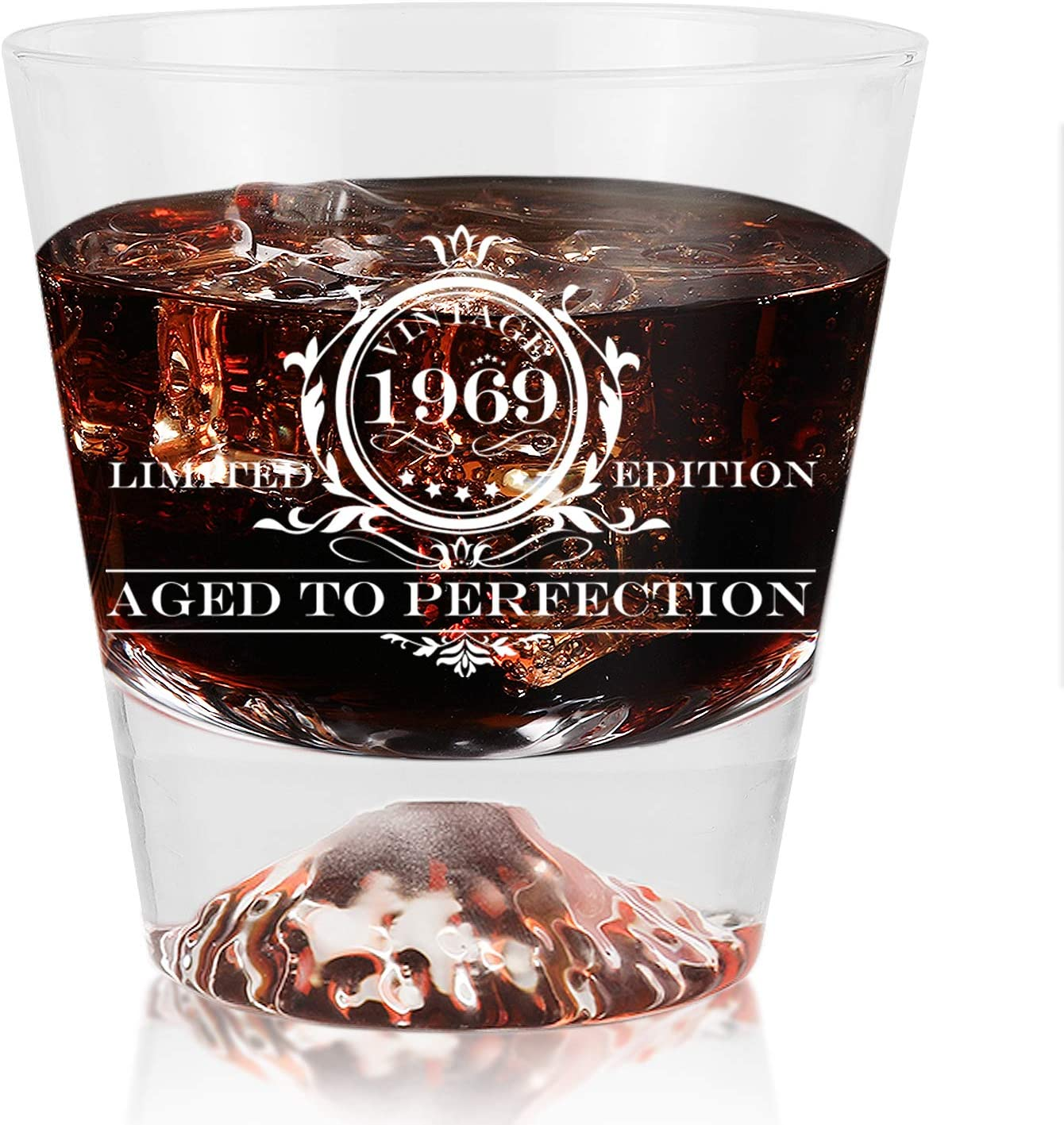 1969 vintage wine glass 50th Birthday Gifts for Men and Women Kithumi Whiskey Glass-Vintage Funny Anniversary Gift Ideas for Mom, Dad, Husband, Wife-Party Decorations-11 oz