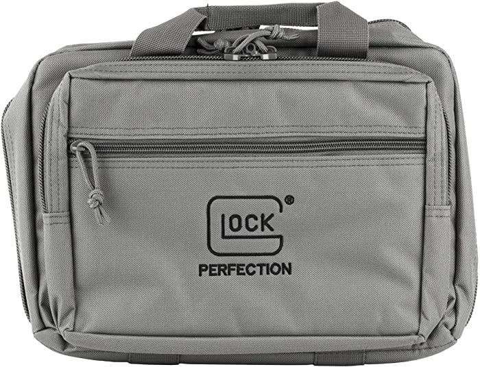 """Glock Apparel Double Pistol Case, Gray, 12.5"""" X 9.5"""" X 4.5"""", Padded Compartments, Holds 2 Handguns, 5 Magazines, Ammo, and Range Tools, One Size"""