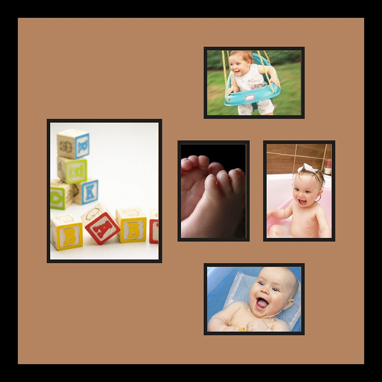 Art to Frames Double-Multimat-332-771//89-FRBW26079 Collage Photo Frame Double Mat with 1-8x10 and 4-5x7 Openings and Satin Black Frame