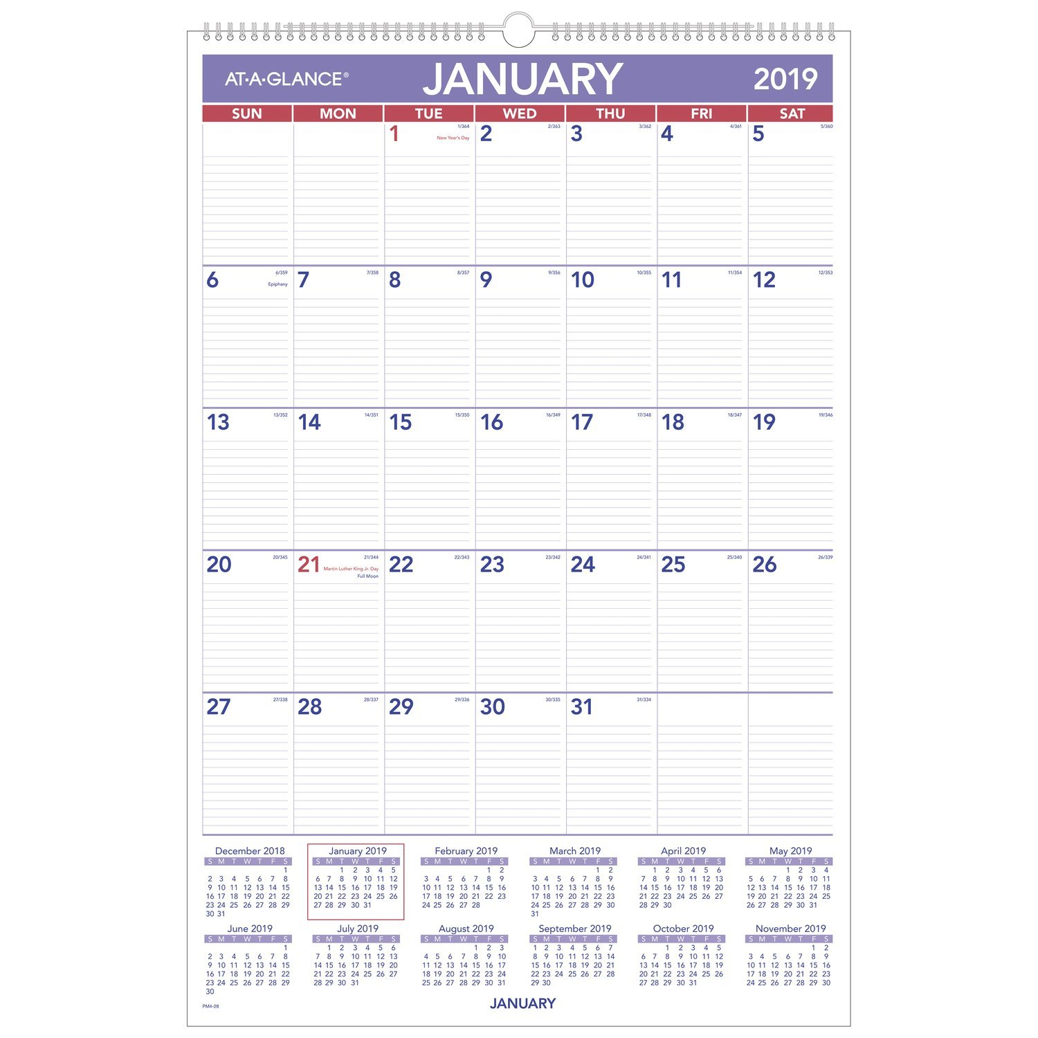 AT-A-GLANCE 2019 Monthly Wall Calendar, 20'' x 30'', XLarge, Wirebound (PM428)
