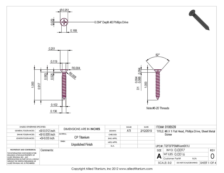 #6 X 1 Flat Head Grade 2 Titanium Sheet Metal Screw Pack of 25 Phillips Drive CP Allied Titanium 0106539,