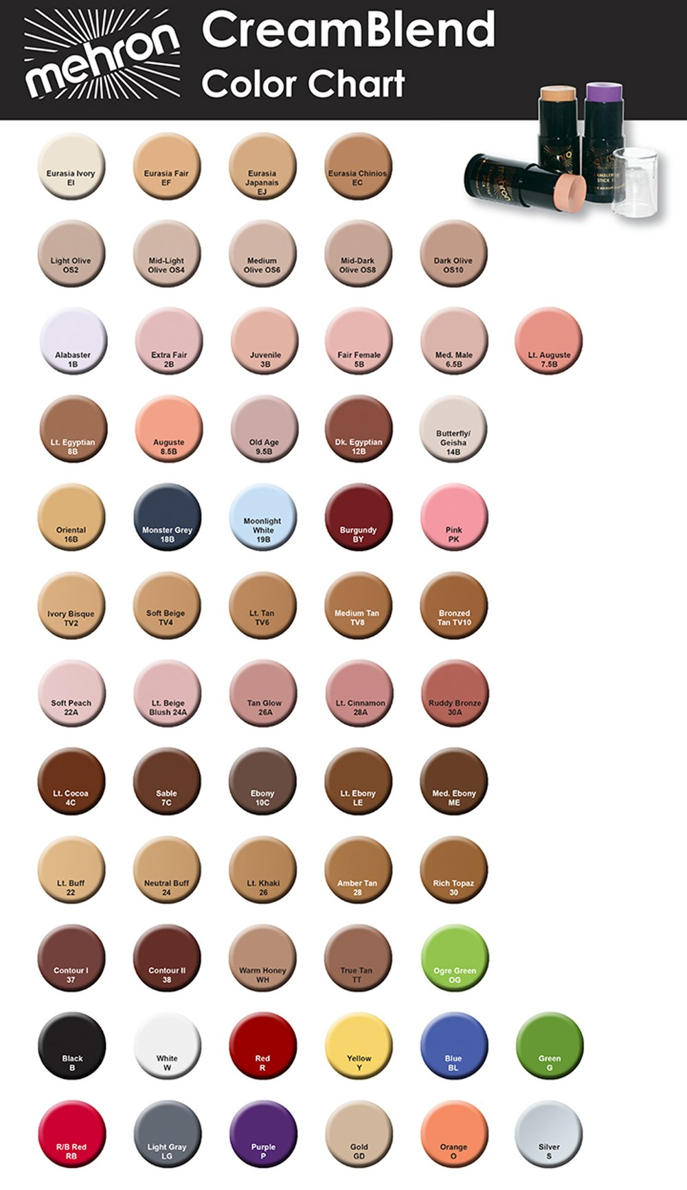 400 (.75oz, Light Gray) Mehron Cream Blend Stick by Mehron (Image #2)