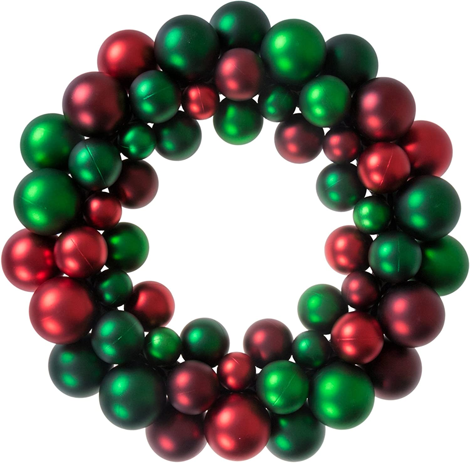 Clever Creations Christmas Ornament Wreath Bright Red & Green | Festive Holiday Décor | Classic Theme | Lightweight Shatter Resistant | Great for Indoor/Outdoor Use | 13.5