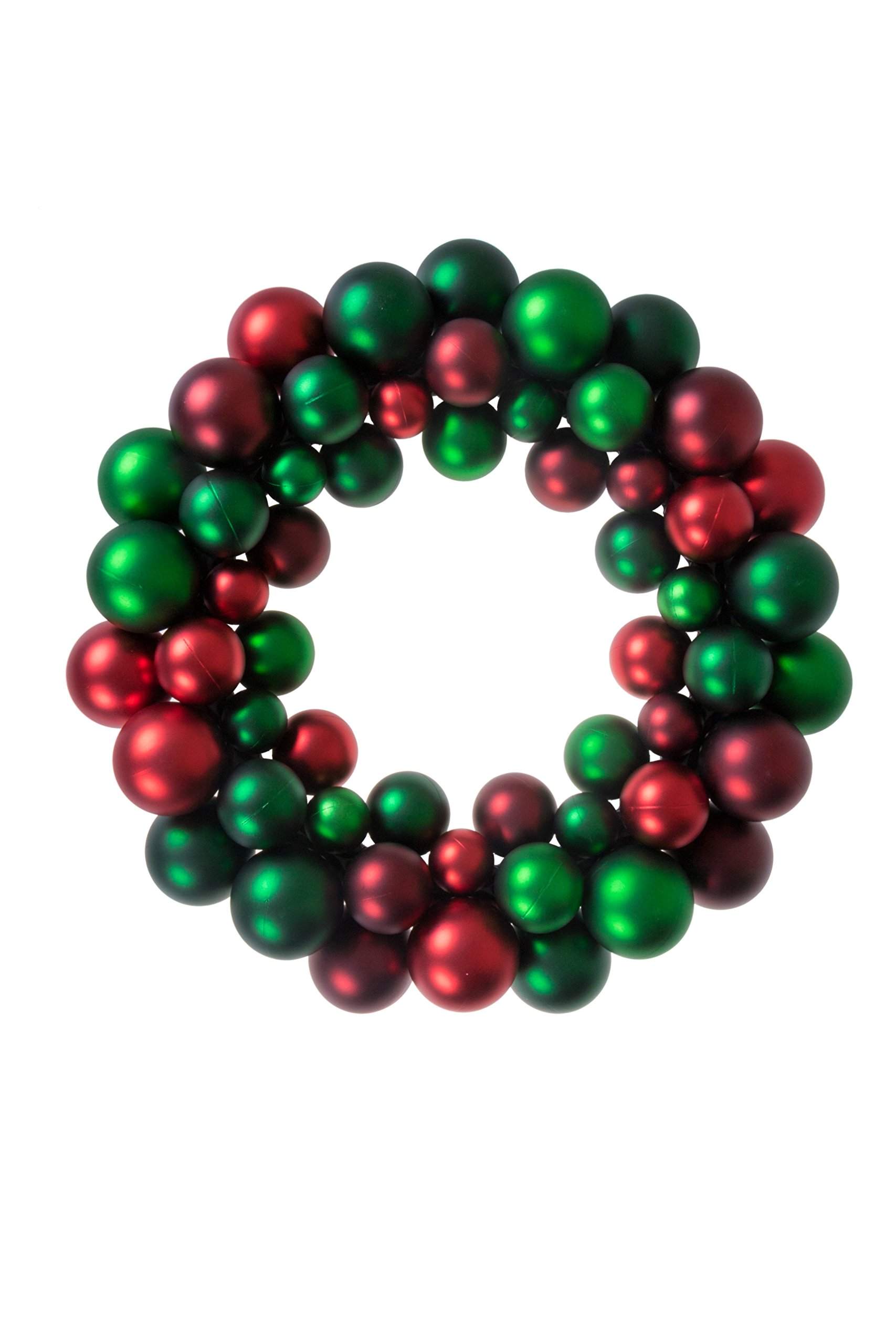 Christmas Ornament Wreath by Clever Creations | Bright Red & Green | Festive Holiday Décor | Classic Theme | Lightweight Shatter Resistant | Great for Indoor/Outdoor Use | 13.5'' x 13.5'' x 2.75'' ...