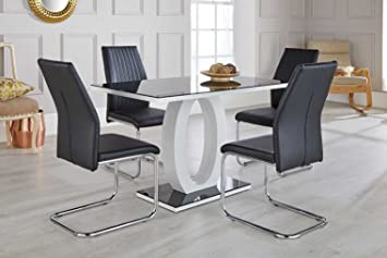 4c2098822ed79 FurnitureboxUK Giovani Black White High Gloss Glass Dining Table Set and 4  Lorenzo Chairs Seats