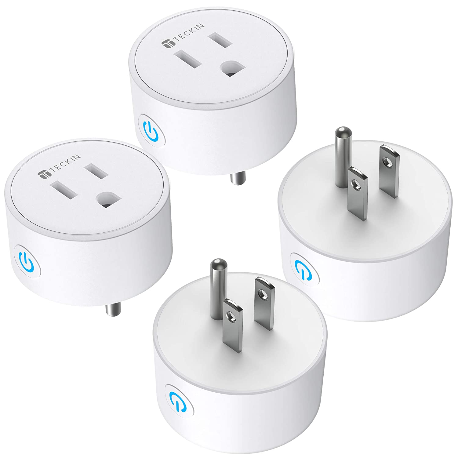 Smart Plug WiFi Outlet Works with Alexa and Google Home TECKIN Remote Control Mini Smart Socket Timer and Schedule, No Hub Required, only 2.4ghz FCC ETL Certified, White