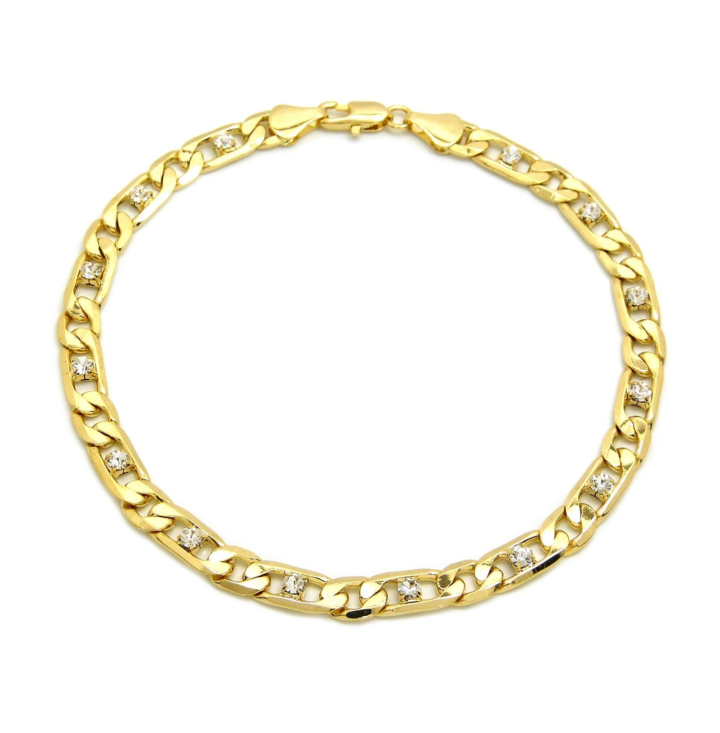 Fashion 21 Electro Gold Plated 10'' Diversified Chain Anklet Foot Chain Bracelet in Gold Color (Made in Korea) (6mm 10'' Iced Out Figaro Anklet)
