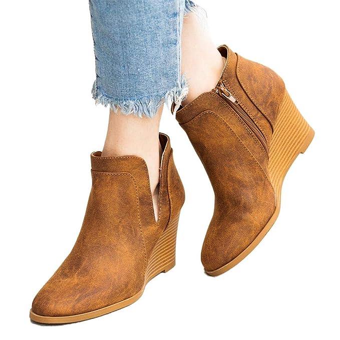 Damen Leder Ankle Boots Stiefeletten Keilabsatz Schwarz Gr.39