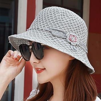 XINQING-MZ El sombrero de paja plegable en el verano chica gráficos cara  pequeña algodón visera tapa cuenca pescador hat la tapa hembra transpirable 4ee8a5dccb5