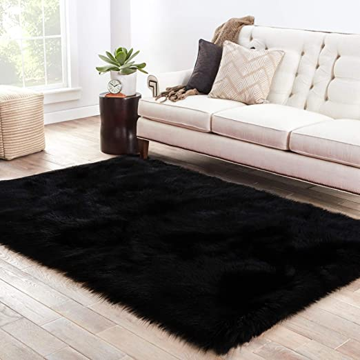Lochas Silky Soft Faux Fur Rug Sheepskin Throw Chair Sofa Cover For Bedroom 2x3 Black Fluffy Bedside Area Rugs Floor Carpet Machine Washable Area Rugs Home Kitchen