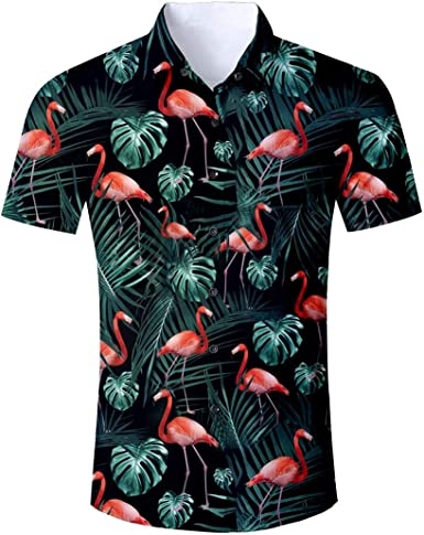 Alistyle Unisexo de Hombre New 3D Palm Tree imprimii Camiseta Slim Fashion Hmbre Shirt Camisa deManga