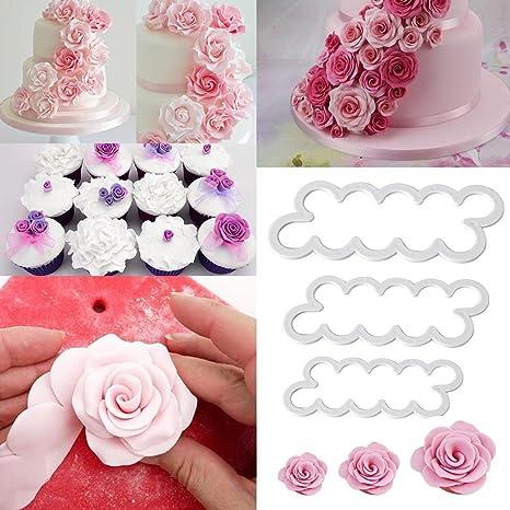 Hosaire 3 Pcs Plantillas para Decoración de Tartas Pasteles, Cortador de Flores Rosa Volantes Molde