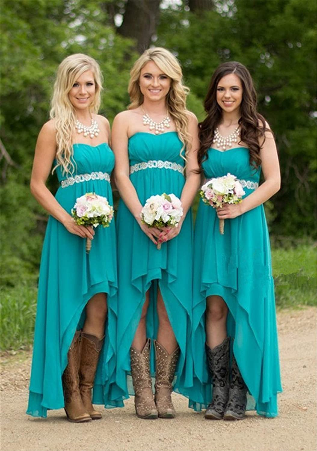 Dwu chiffon high low bridesmaid dresses rustic bridal party gown dwu chiffon high low bridesmaid dresses rustic bridal party gown at amazon womens clothing store ombrellifo Image collections
