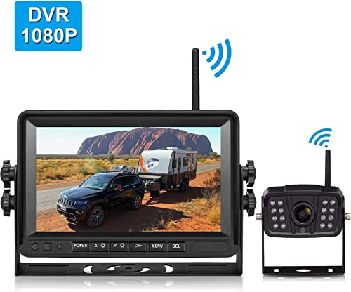 FHD 1080P Digital Wireless Backup Camera and 7 DVR Monitor Support Dual Quad Split Screen for Trailers,Trucks,RVs,5th Wheels Highway Observation System IP69K Waterproof Guide Lines On Off