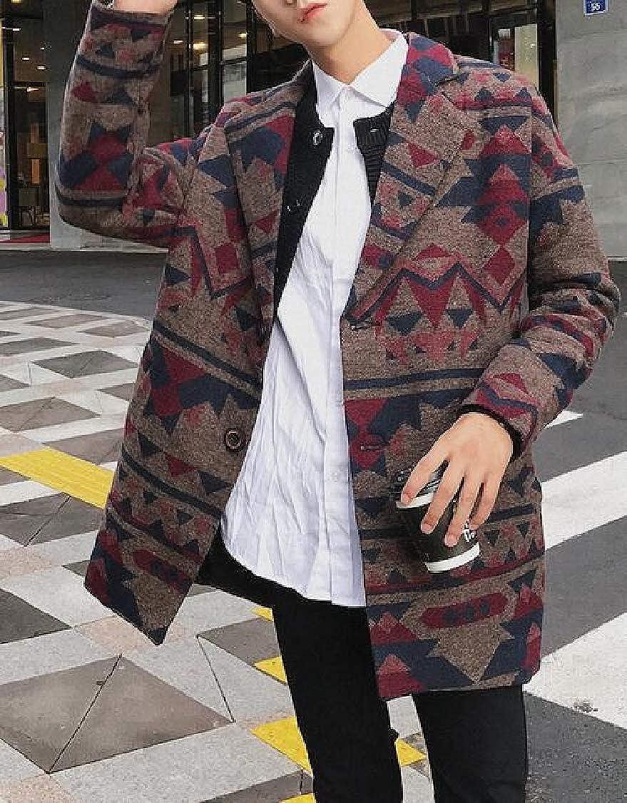 XQS Mens Casual Geometric Print Loose Wool Trench Coat Lapel Overcoat