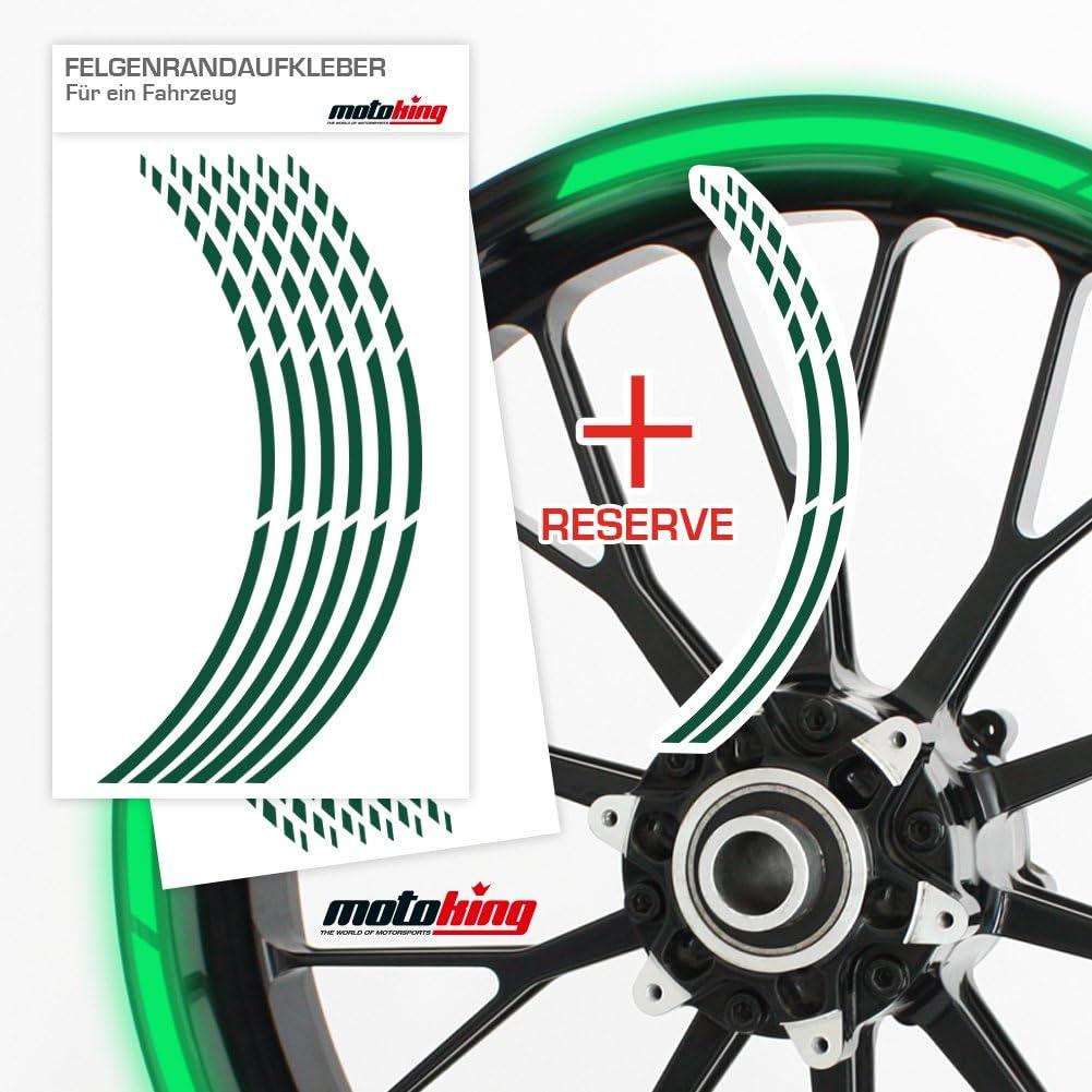 REFLEKTIEREND GR/ÜN Auto /& mehr Felgenrandaufkleber GP im GP-Design passend f/ür 17 Zoll Felgen f/ür Motorrad