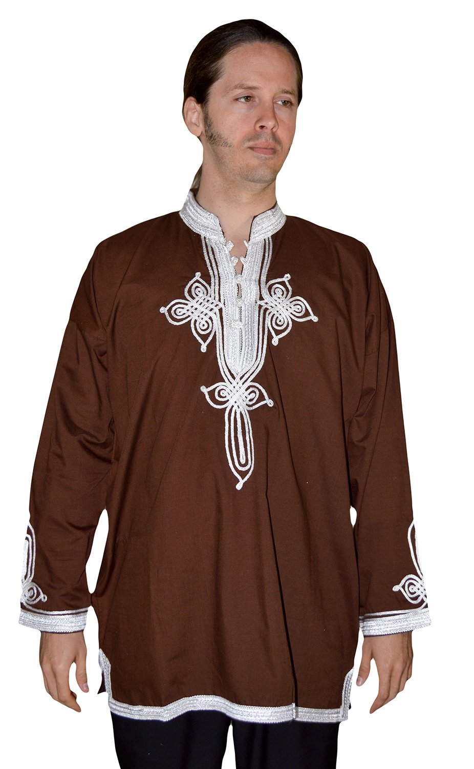 Marrakesh Men Tunic Caftan With White Tread Embroidery Breathable X-large Dark Brown