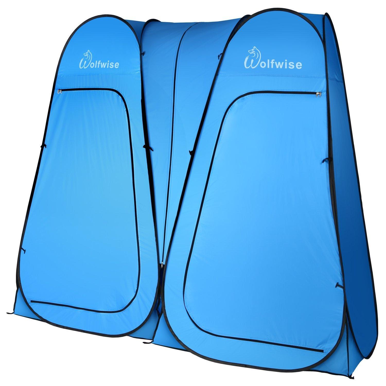 WolfWise Tienda de Campa/ña Tent Abrir Cerrar Autom/áticamente Pop Up Portable Sirve Para Camping Playa Bosques Zonas de monta/ña Ducha Aseo Carpas Vestidor Azul