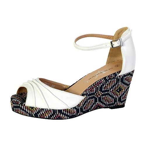 7868c32c5e7 The Divine Factory Sandales Compensée Femme Blanc  Amazon.fr  Chaussures et  Sacs
