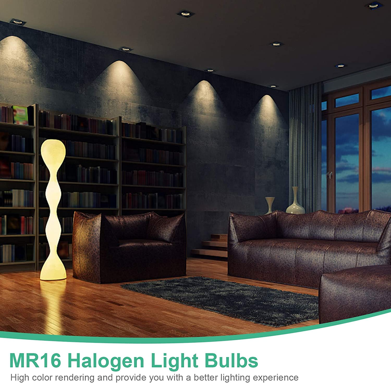 50W Jaenmsa MR16 Reflektorlampe Dimmbares Halogen GU5.3 Abstrahlwinkel: 360/° 4000 K 12V Aluminiumreflektor Warmwei/ßes Licht Energieklasse C