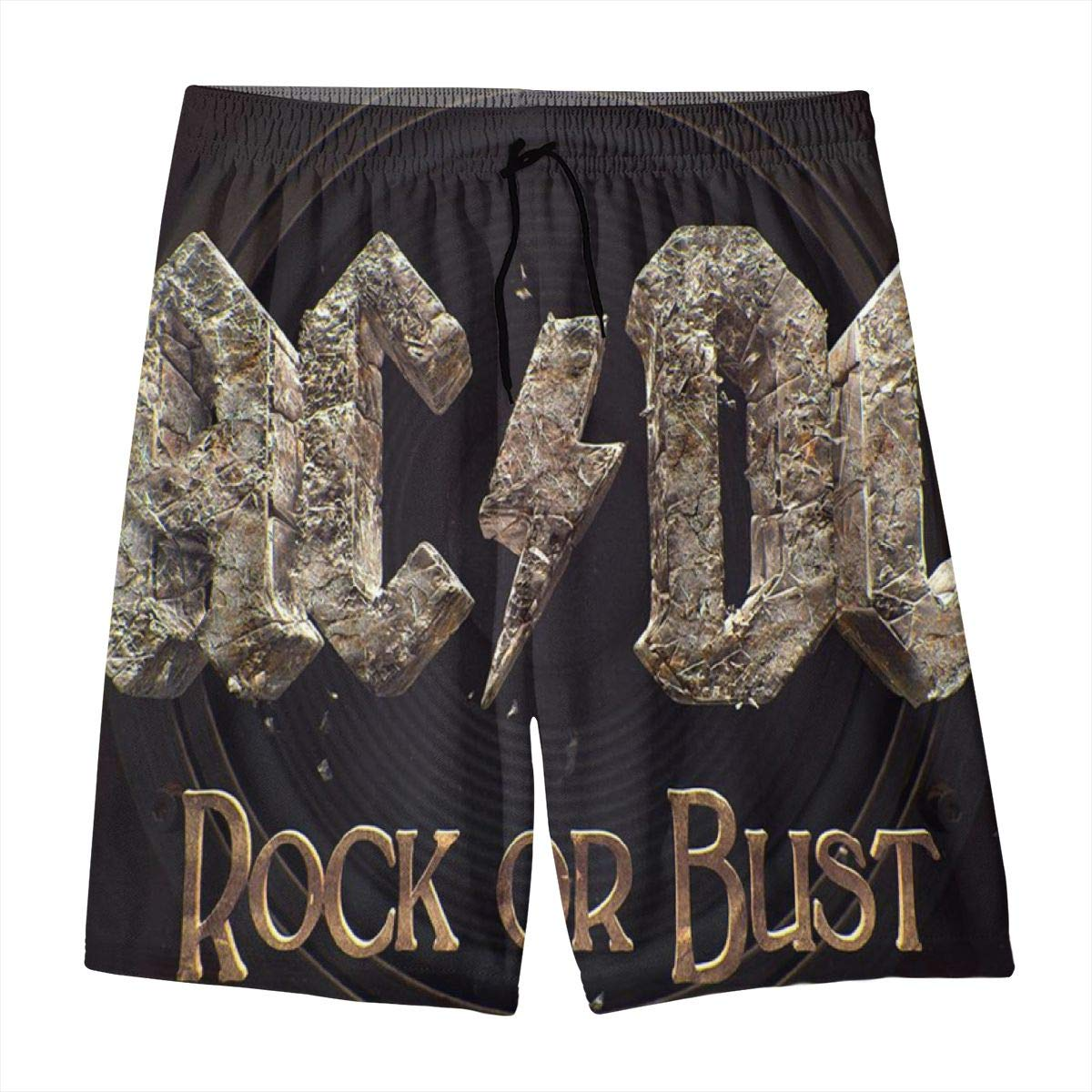 ACDC Rock Or Bust Adolescent Beach Pants Barbecue Drawstring Surfers Shorts