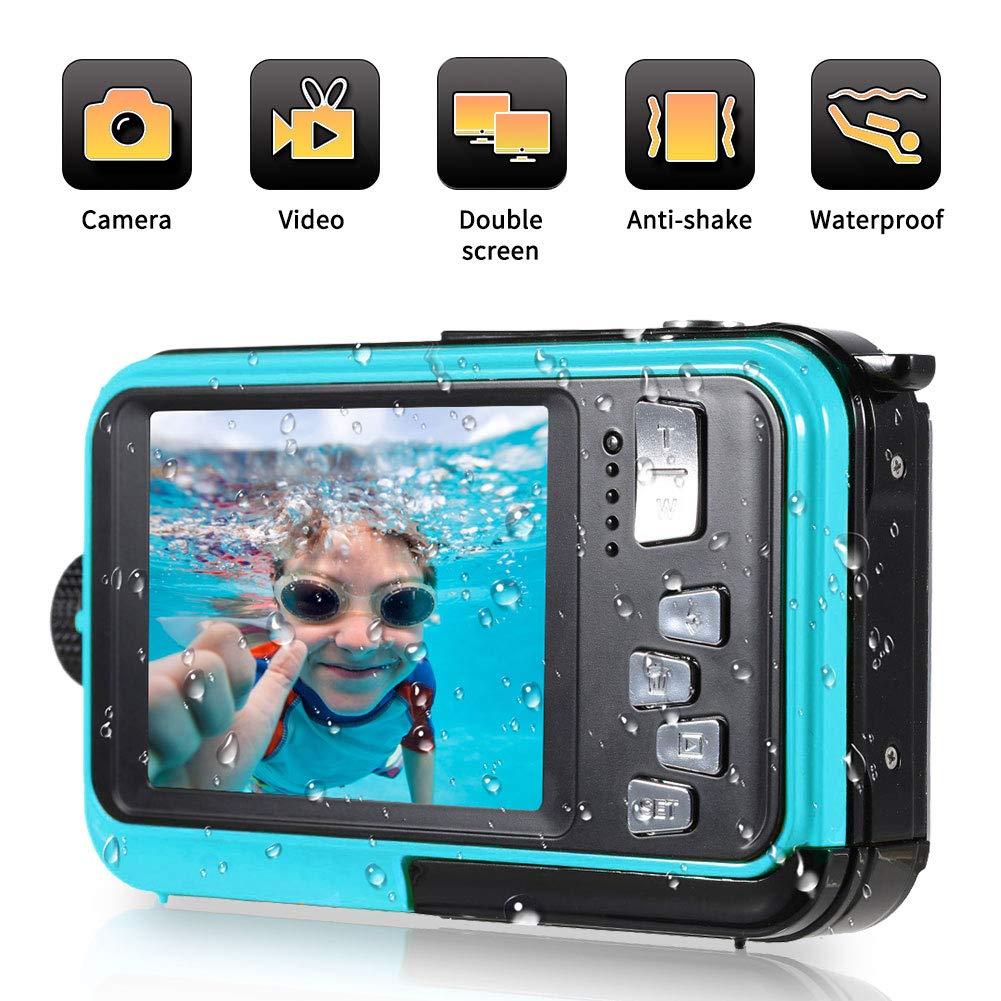 Waterproof Digital Camera 24 MP Underwater Camera Full HD 1080P Video Recorder Camcorder Selfie Dual Screen Shoot Waterproof Camera for Snorkelling by YINDIA