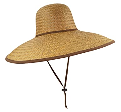22fb0b5031f97 Image Unavailable. Image not available for. Color  Natural Mexican Palm  Leaf Straw Extra Wide Brim Lifeguard Sun Hat with Chin Strap