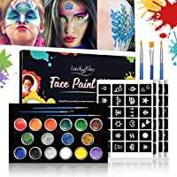 Luckyfine Kit glitter per viso e corpo, pittura per il viso sicura e non tossica, body painting facilmente rimovibile, set per il trucco di Halloween