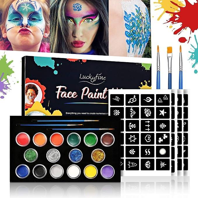 Luckyfine Pinturas Faciales y Glitter Corporales, Kit de Maquillaje Halloween - 12 Colores Pinturas Corporales, 4 x Glue Glitter, 4 x Pegatinas de ...