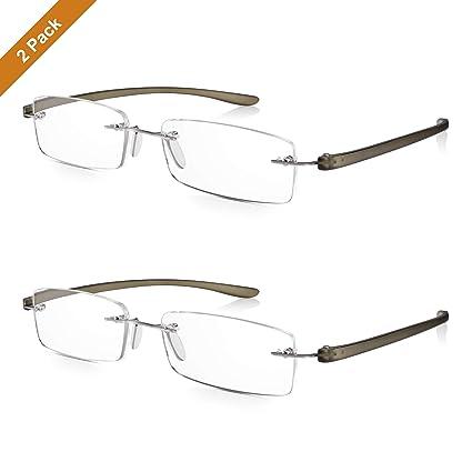 2 Pares Read Optics Hombre/Mujer Gafas de Lectura Montura al Aire: Lentes Graduadas + 2.0 Dioptrías Anti-UV/AntiReflejos – Varillas Flexibles y ...