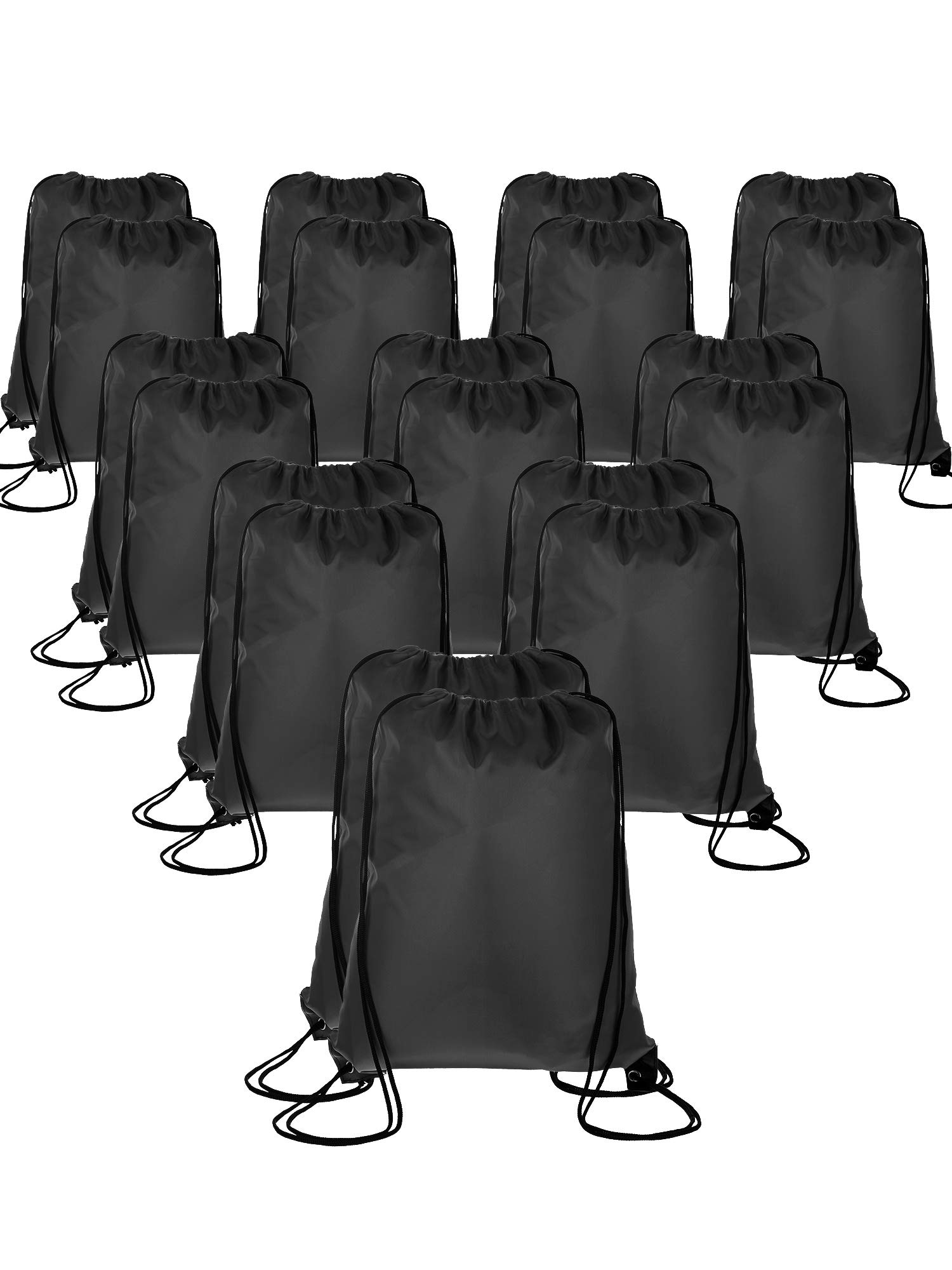 Shappy 20 Pieces Drawstring Bag Backpack Sport Bag Cinch Tote Travel Rucksack for Traveling and Storage (Black)