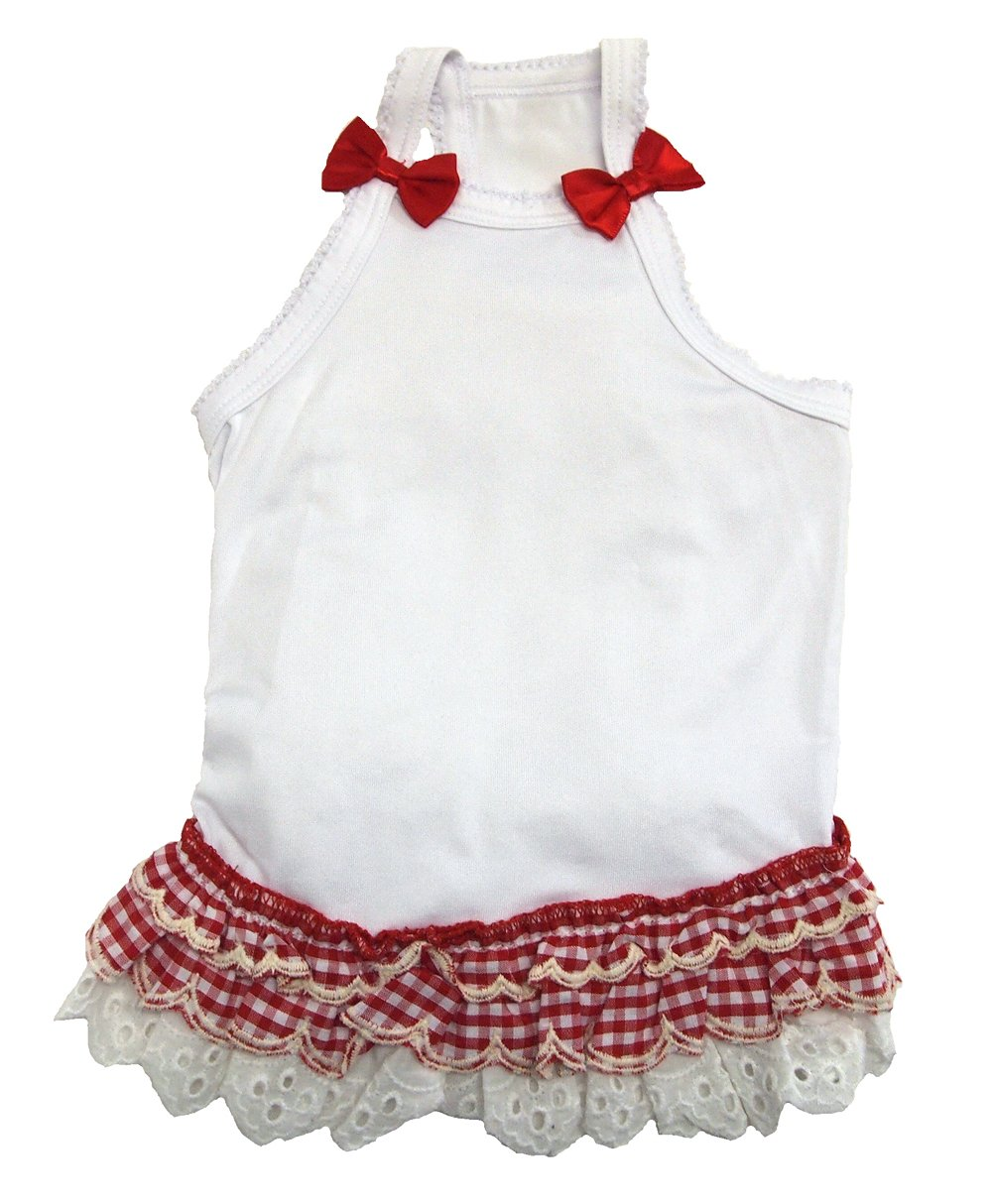 Bise (Vie Cet) gingham check ruffle camisole Red S