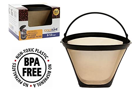 goldtone brand reusable 4 cone coffee filter fits moccamaster coffee makers and brewers bpa