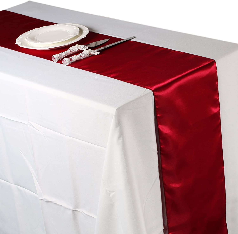1 piece Silver Chemins de table Vlovelife Violet satin/é de 12 X 108 table de d/écoration banquet de mariage Satin