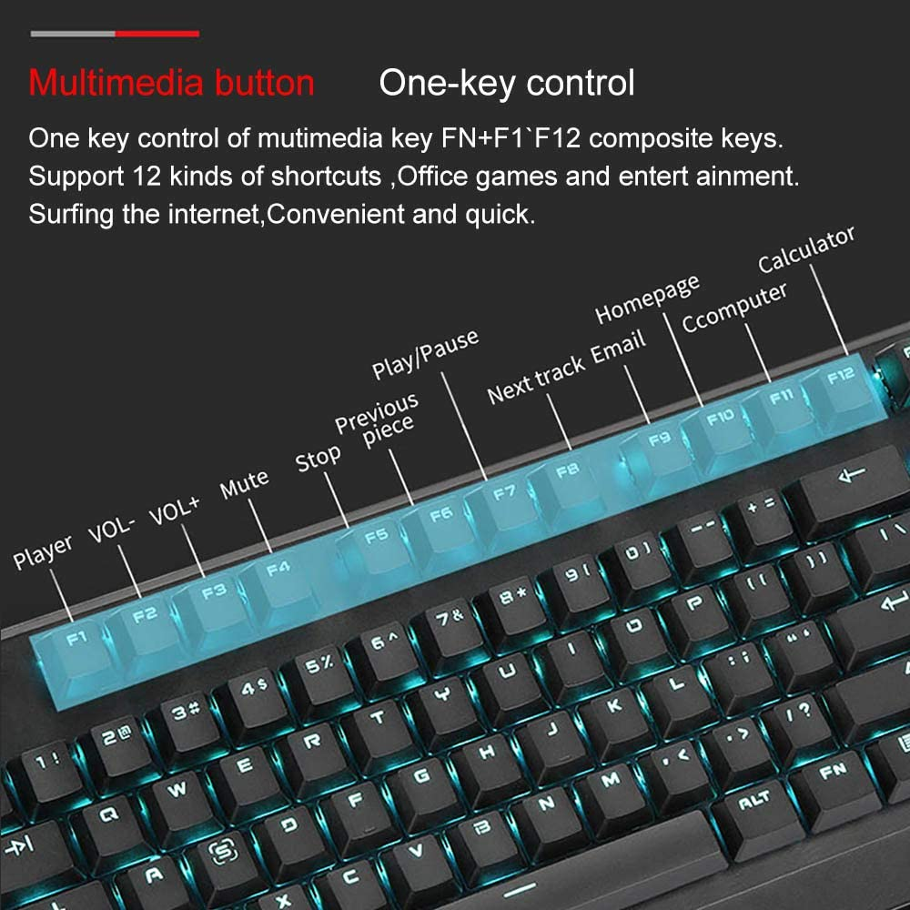 Suitable for Computers//Laptops 9 Backlight Effects29-Key Conflict-Free LINGYUN LED Backlit Gaming Mechanical Keyboard with Multimedia Buttons and Custom Macro Programming