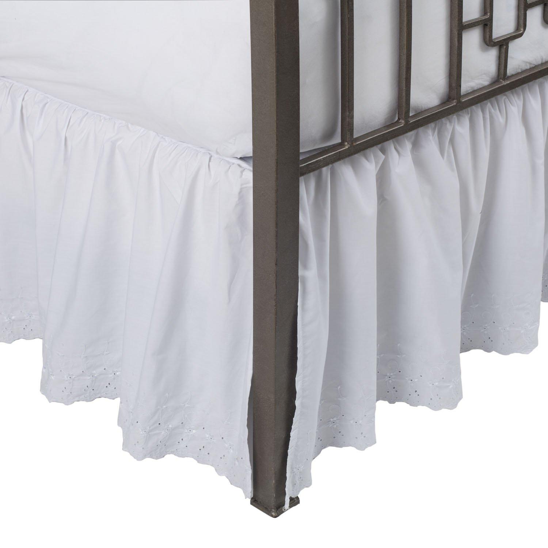 Eyelet Ruffled Bed Skirt w/Split Corners, 21'' Drop White,Queen