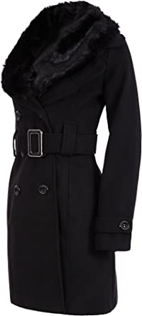 Laeticia Dreams Damen Winter Mantel Fleece Mantel mit Pelz XS SML XL XXL