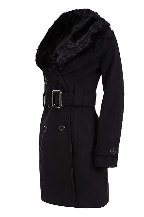 804cd2fdb85f Laeticia Dreams Damen Winter Mantel Fleece Mantel mit Pelz XS S M L XL XXL   Amazon.de  Bekleidung