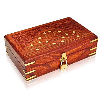 Christmas Gifts Handmade Wooden Jewelry Box With Free Lock Key Keepsake Box Treasure Chest Lock Box Watch Box Storage Box Trinket Holder 8 X 5