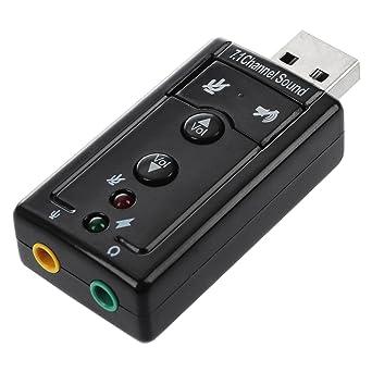 Tarjeta de sonido externa USB (audio 5.1, 3D) - Negro, Pack ...