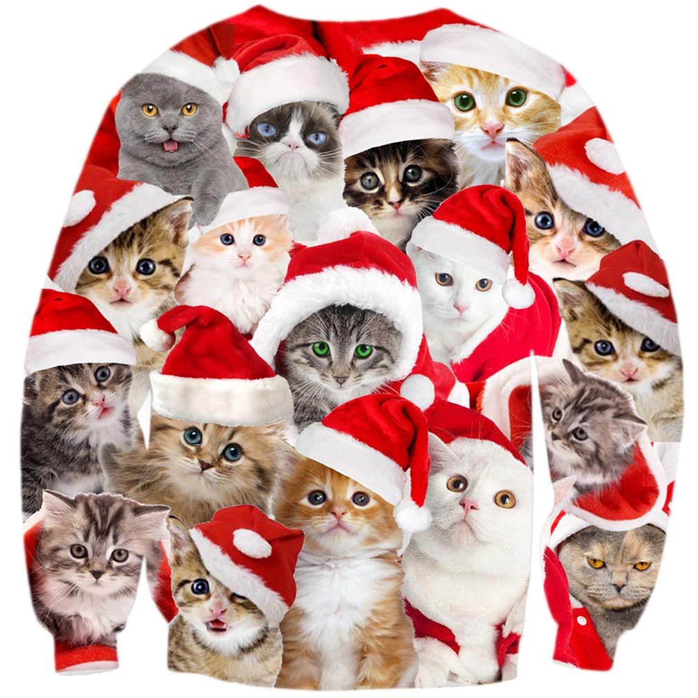 ALISISTER Unisex Xmas Jumper Funny Cat Elf Pattern Christmas Pullover Sweatshirt Sweater Autumn Winter Round Neck Xmas Gift Clothing Outwear Top L