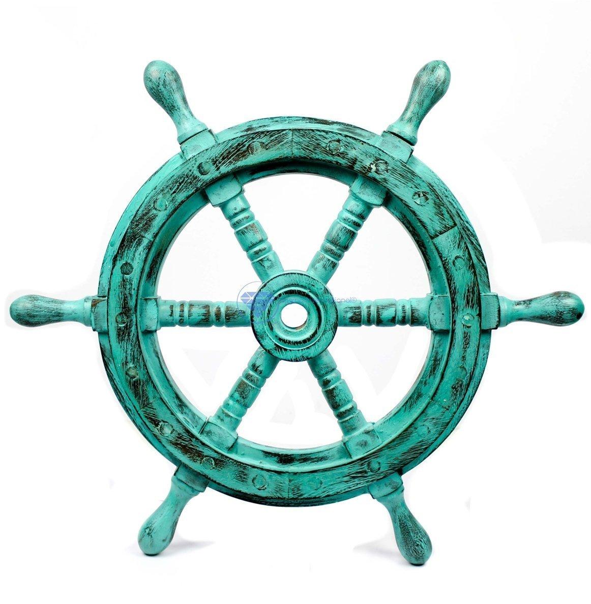 Nagina International(ナジャイナインターナショナル) Nautical高級ハンドクラフト木製操舵輪 | 海賊風家庭壁装飾&ギフト |24 Inches NWH005AG B01FVSR5IA 24 Inches|Antique Green Antique Green 24 Inches