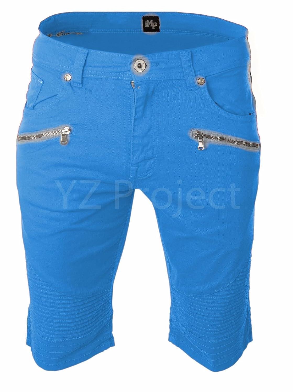 Trending Apparel Moto Biker Denim Stretch Twill Shorts Zipper Pocket 10 Colors