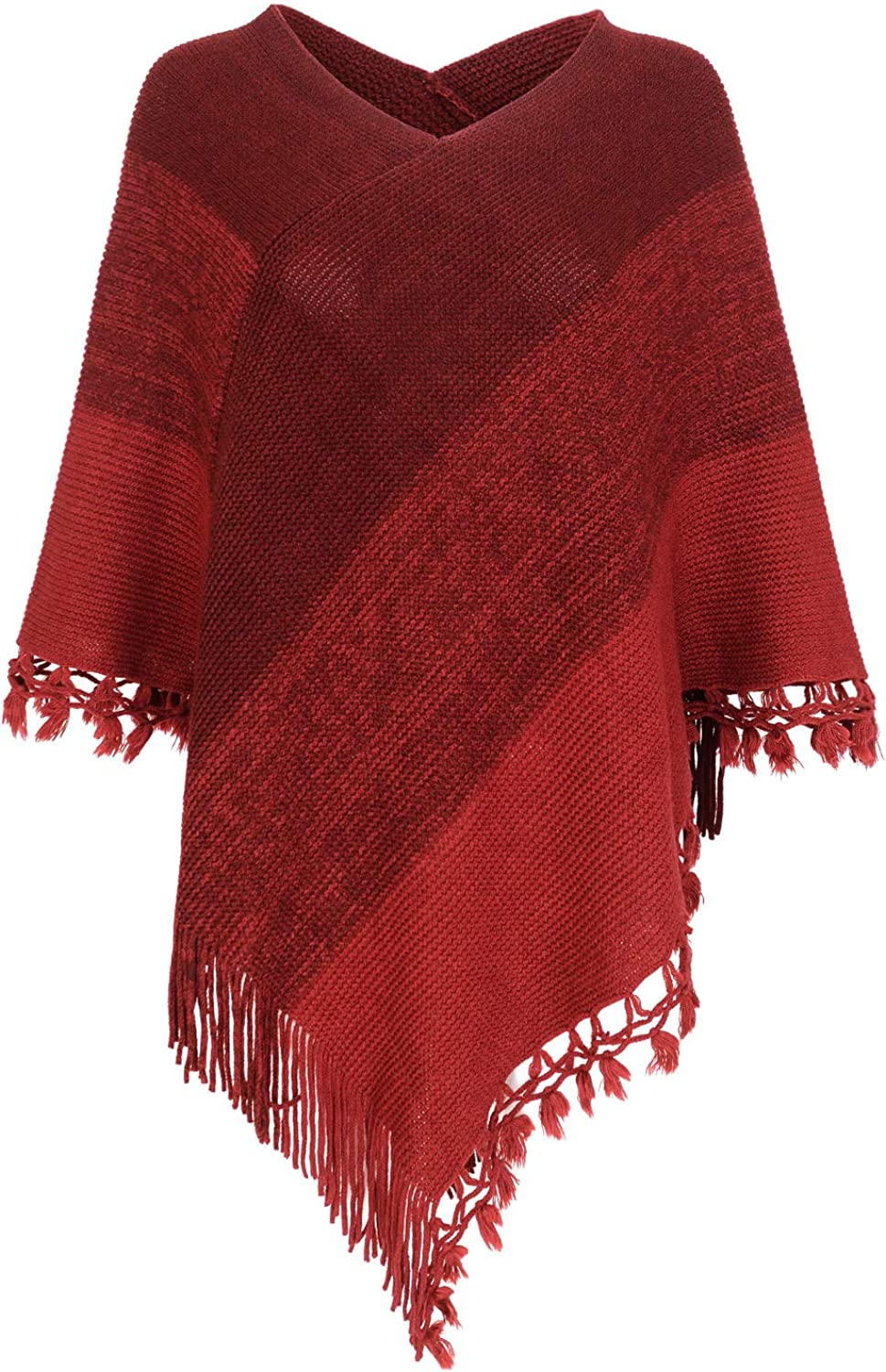 Women Striped Poncho With...