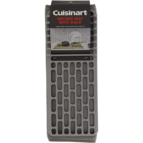 Drizzle Grey 16 x 18 inches Cuisinart Dish Drying Rack and Ultra Absorbent Kitchen Dish Drying Mat 100/% Microfiber Polyester