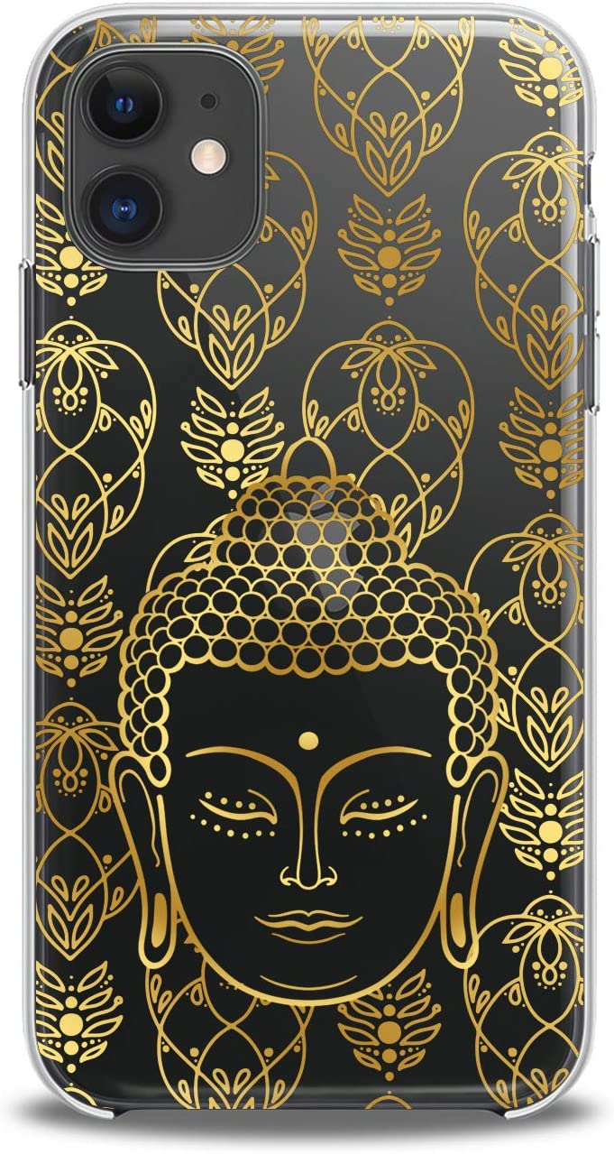 Lex Altern Case Compatible with iPhone 12 Mini 5G 11 Pro Xs Max Xr 8 X 7 Plus 6 SE 5 Gold Buddha Clear Aesthetic Cover Slim fit Inspirational Smooth Yellow Print Design Mantra Lightweight Hindu Soft