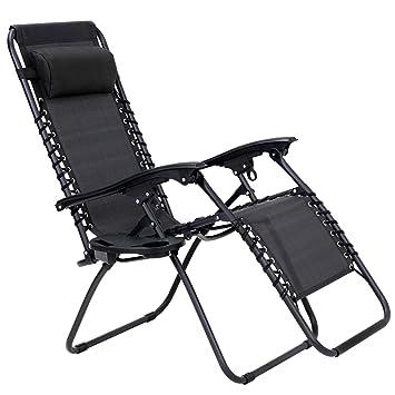 Songmics chaise longue inclinable transat de jardin en textilène bain de soleil pliable léger réglable en